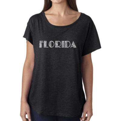 Los Angeles Pop Art Women's Loose Fit Dolman Cut Word Art Shirt - POPULAR CITIES IN FLORIDA