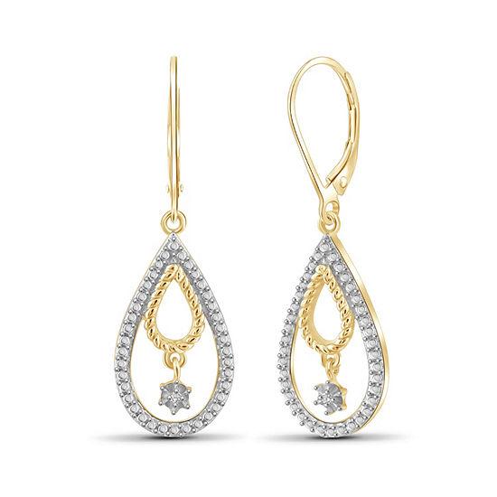 Diamond Accent White Diamond 14K Gold Over Brass Round Drop Earrings