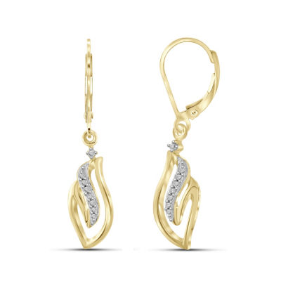 Diamond Accent White Diamond Round Drop Earrings