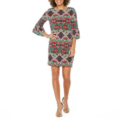 London Style 3/4 Bell Sleeve Abstract Shift Dress