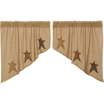 Primitive Window Stratton Burlap Applique Star Swag Pair