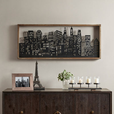Madison Park Skyline Metal Wall Art Decor With Wooden Frame