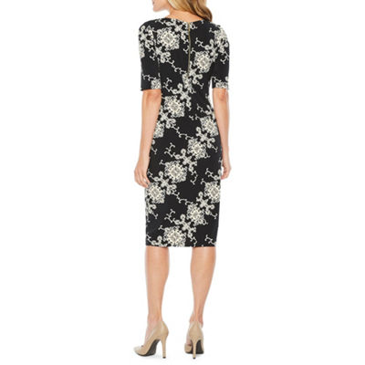 Ronni Nicole Elbow Sleeve Medallion Puff Print Sheath Dress