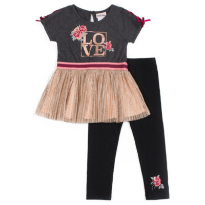 Little Lass Charcoal Rose Tutu Legging Set - Preschool Girls