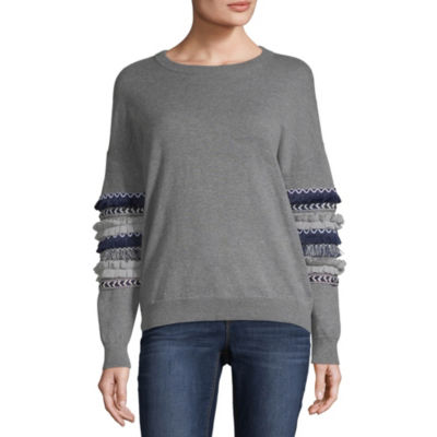 a.n.a Long Sleeve Round Neck Pattern Pullover Sweater