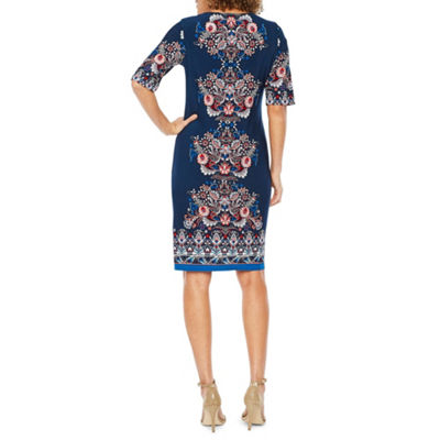 R & K Originals Elbow Sleeve Puff Print Shift Dress