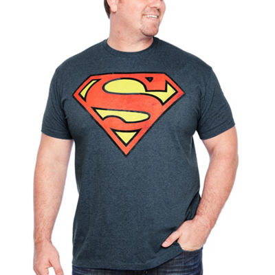Distressed Superman Short Sleeve Superman Graphic T-Shirt-Big and Tall