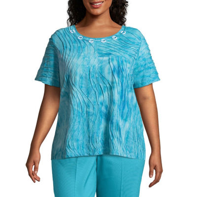 Alfred Dunner Turks & Caicos Tie Dye Texture Tee- Plus