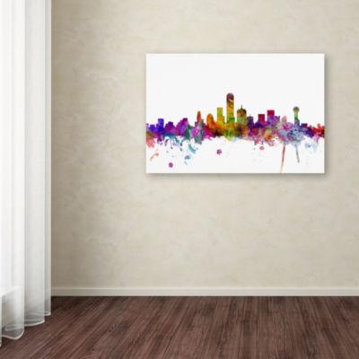 Trademark Fine Art Michael Tompsett Dallas Texas Skyline Giclee Canvas Art