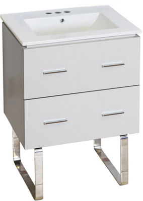 23.75-in. W Floor Mount White Vanity Set For 3H4-in. Drilling