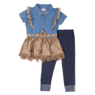 Little Lass Cheetah Print Legging Set - Preschool Girls