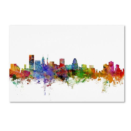 Trademark Fine Art Michael Tompsett Baltimore Maryland Skyline Giclee Canvas Art