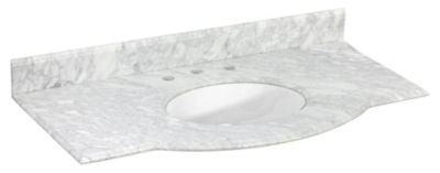 43.5-in. W 23.5-in. D Marble Top With Backsplash In Beige Color For 3H8-in. Faucet - White UM Sink