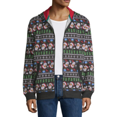 Ugly Christmas Santa Zip Up Hoodie