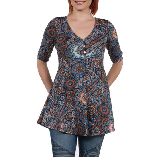 24Seven Comfort Apparel Stefanie Henley Style Tunic Top