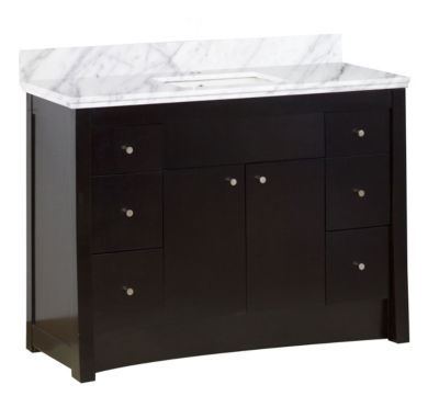 47.6-in. W Floor Mount Distressed Antique Walnut Vanity Set For 1 Hole Drilling Bianca Carara Top White UM Sink