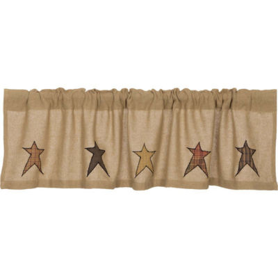 Primitive Window Stratton Burlap Applique Star Valance