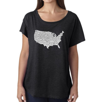 Los Angeles Pop Art Women's Loose Fit Dolman Cut Word Art Shirt - THE STAR SPANGLED BANNER