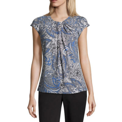 Liz Claiborne Short Sleeve Round Neck Leaf T-Shirt-Womens Petite