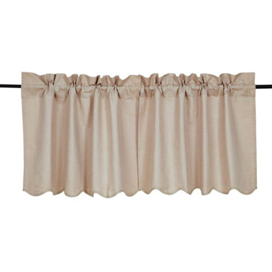 Farmhouse Window Charlotte Solid Natural Scalloped Tier Pair