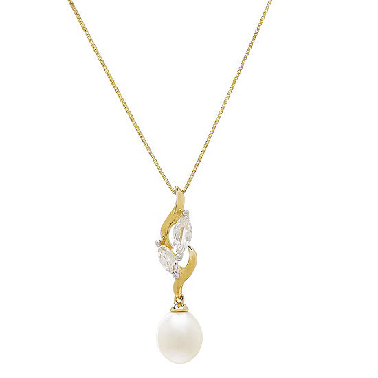 Womens Genuine White Cultured Freshwater Pearl 10K Gold Pendant Necklace