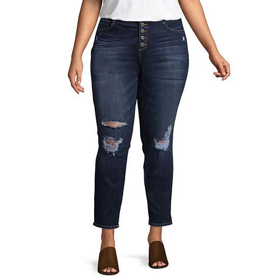 Arizona Womens Mid Rise Skinny Fit Jean - Juniors Plus