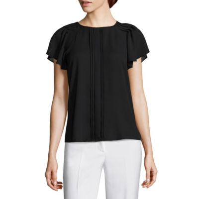 Worthington Womens Round Neck Short Sleeve Blouse-Petite