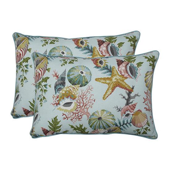 Pillow Perfect Grantoli Seamist Set of 2 Oversized Rectangular Outdoor Throw Pillows