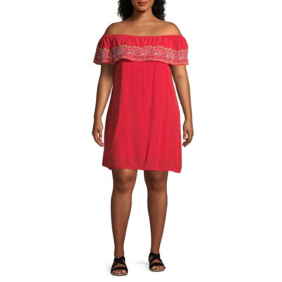 Arizona Short Sleeve A-Line Dress-Juniors Plus