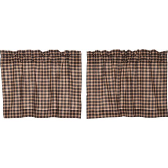 Classic Country Window Bingham Star Plaid Tier Pair