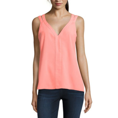 Project Runway Strap Blouse with High Low Hem