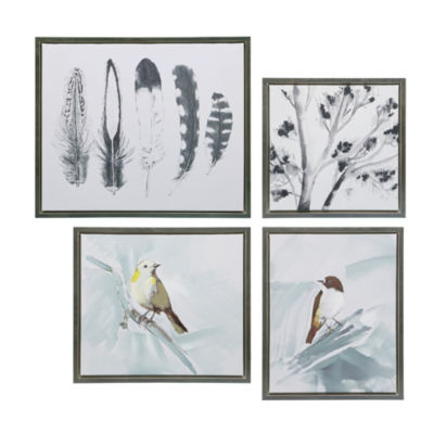 Madison Park Plume Hand Embellished 4-pc. Framed Gel Coat Canvas Art