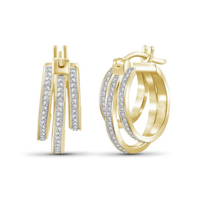 Diamond Accent White Diamond 14K Gold Over Brass 22mm Round Hoop Earrings