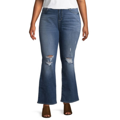 Arizona Womens Mid Rise Bootcut Jean-Juniors Plus