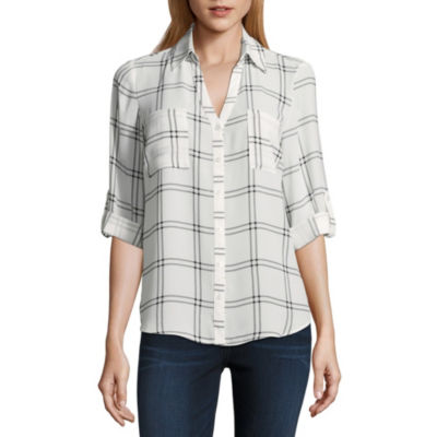 by&by 3/4 Sleeve Collar Neck Crepe Blouse-Juniors
