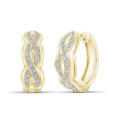 Diamond Accent White Diamond Brass Hoop Earrings