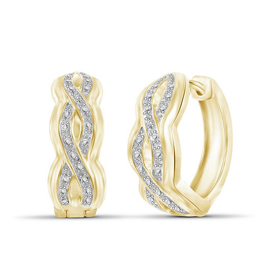 Diamond Accent White Diamond 14k Gold Over Brass 205mm Round Hoop Earrings
