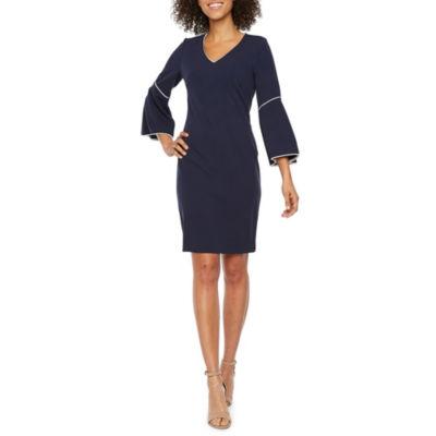 Sharagano 3/4 Bell Sleeve Shift Dress