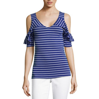Liz Claiborne Como Blu Cold Shoulder V Neck Jersey T-Shirt