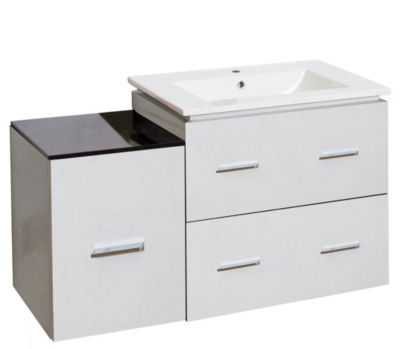 37.75-in. W Wall Mount White Vanity Set For 1 HoleDrilling