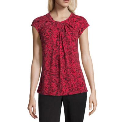 Liz Claiborne Short Sleeve Round Neck Leaf T-Shirt-Womens Petites