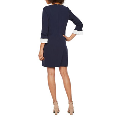Sharagano 3/4 Sleeve Shift Dress