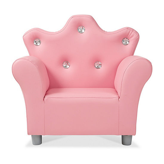 Melissa & Doug Child'S Crown Armchair - Pink Faux Leather Kids Chair