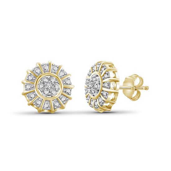 Diamond Accent White Diamond 14K Gold Over Brass 9.3mm Round Stud Earrings