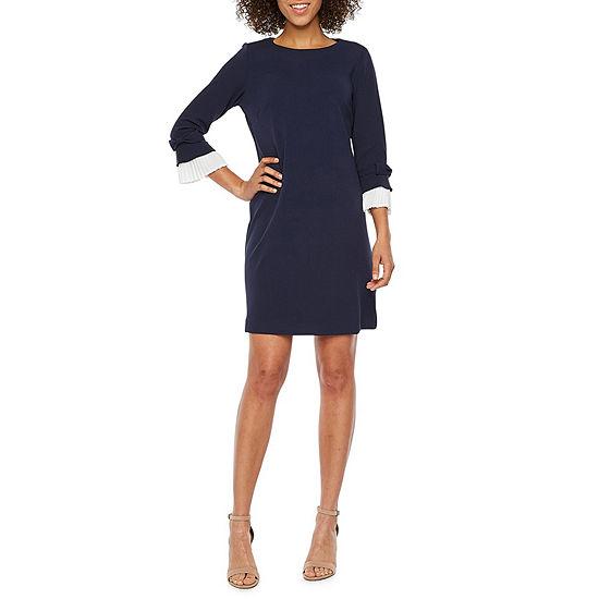 Sharagano 3 4 Sleeve Shift Dress