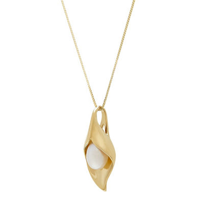 Womens Genuine White 10K Gold Pendant Necklace