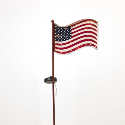 American Flag Solar Yard Stake