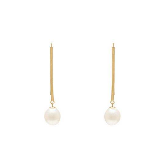 White Cultured Freshwater Pearl 10K Gold Drop Earrings