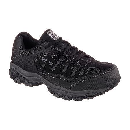 Skechers Cankton Mens Steel-Toe Work Sneakers, 10 Medium, Black