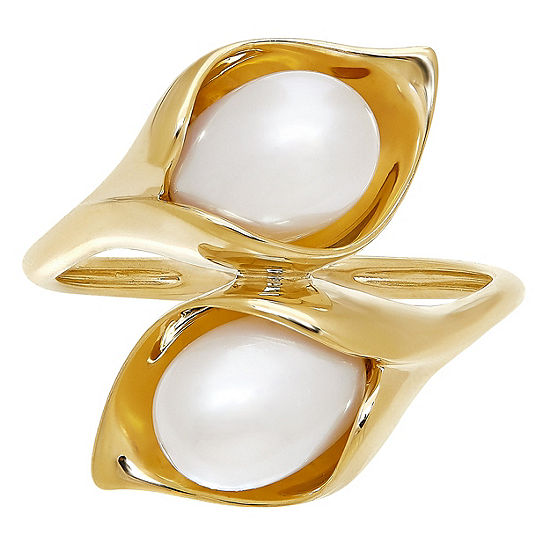 Womens Genuine White Cultured Freshwater Pearl 10K Gold Cocktail Ring